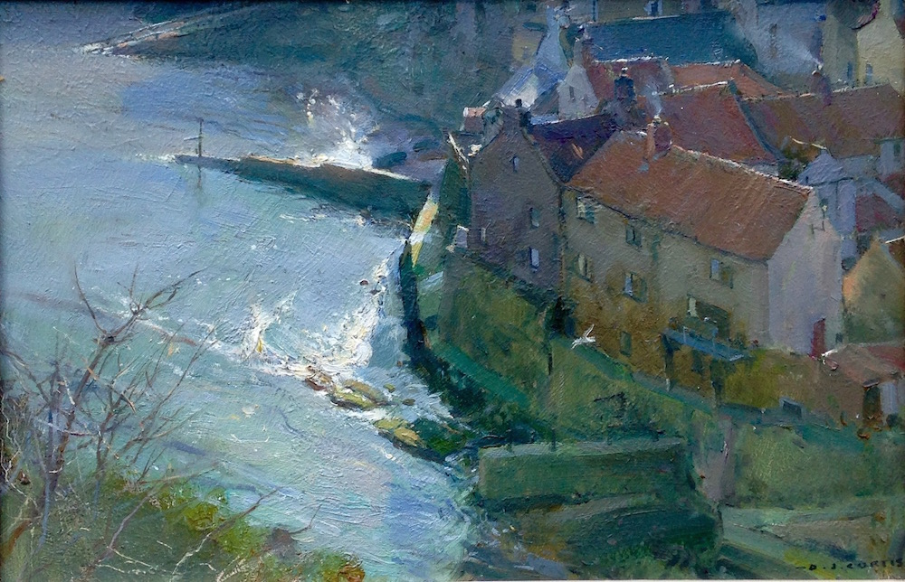 Glancing Light from the Nab, Staithes by David Curtis