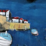Harbour Wall in Blue with Boats by Rob Shaw