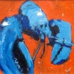 Blue Lobster on Orange by Rob Shaw