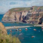 Across Staithes Harbour to Penny Nab by David Curtis RSMA ROI