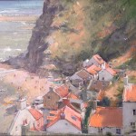 Beach Activity, Lifeboat Day, Staithes by David Curtis RSMA ROI