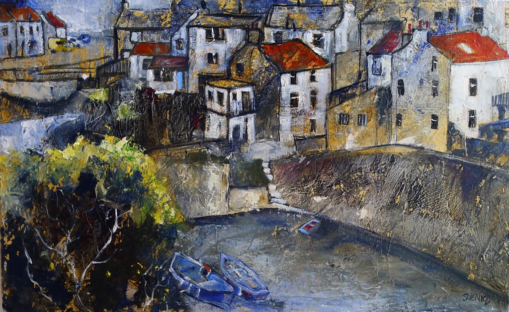 Staithes Beck and Yellow Van by Sue Nichol