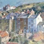 Beckside from the Glade, Staithes by David Curtis ROI RSMA