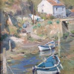 Blue Boats and a Cottage, Staithes Beck by David Curtis ROI RSMA