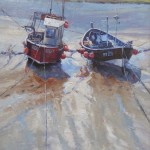 Boats, Staithes Harbour by Robert Brindley RSMA