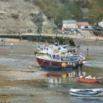 Boats in the Harbour, Staithes by David Curtis ROI RSMA