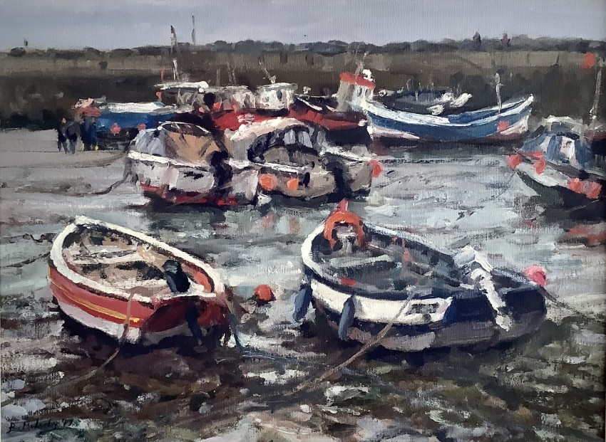 Busy Harbour, Staithes by Bruce Mulcahy RSMA