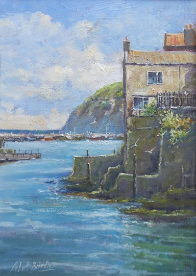 Calm Waters, Staithes Beck by Robert Brindley RSMA