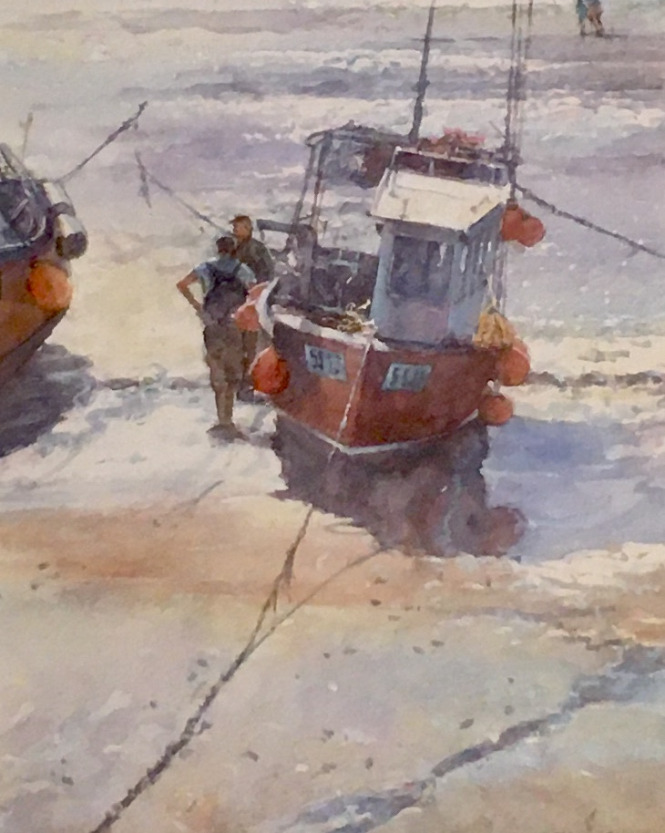 Chatting by the Boat by Robert Brindley RSMA