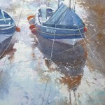 Cobles, Staithes Beck by Robert Brindley RSMA