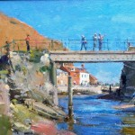 Conversations on the Bridge, Staithes by David Curtis