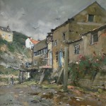 Cottage Backs, Staithes by David Curtis ROI RSMA