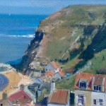 Cottage Backs and Sea Cliffs, Staithes by David Curtis RSMA ROI