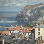 Sunlit Rooftops, Staithes by David Curtis ROI RSMA