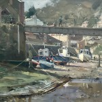 Low Water, Staithes Beck by David Curtis ROI RSMA