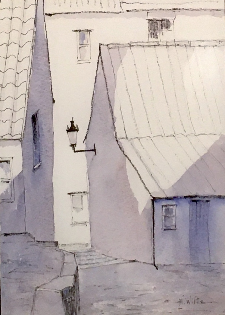 Down the Steps, Staithes by Mark Wilde