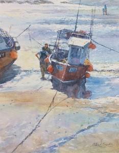 Fishing Boat at Low Tide by Robert Brindley RSMA
