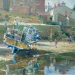 Fishing Boat in the Beck by David Curtis ROI RSMA