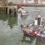 Fishing Boats, Morning, Whitby Harbour by David Curtis ROI RSMA