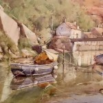 From the Slipway, Staithes by David Curtis ROI RSMA