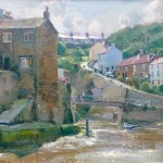 Glancing Light on Cowbar Cottage Roofs, Staithes by David Curtis RSMA ROI