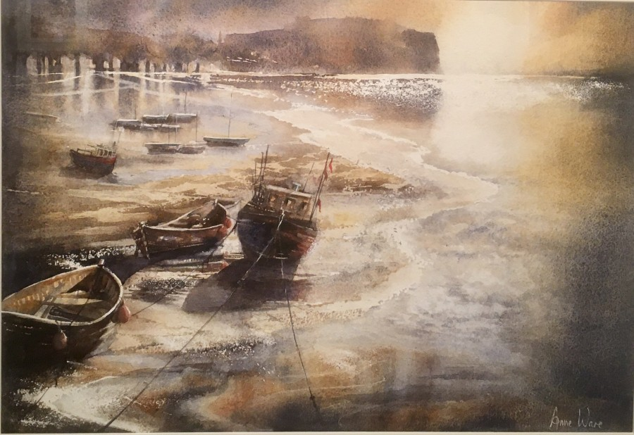Harbour Night, Staithes by Anne Ware