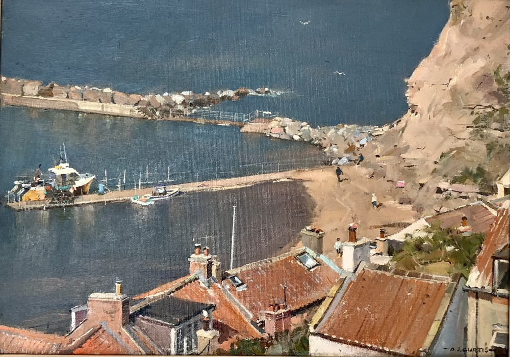 Hot Still Day, Staithes Harbour by David Curtis ROI RSMA