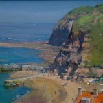 Staithes Beach and Penny Steel by David Curtis