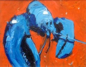 Blue Lobster on Orange