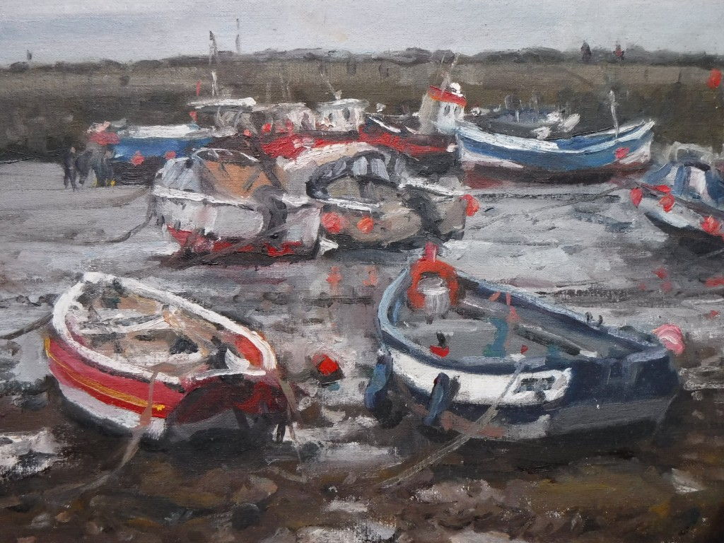In the Harbour at Low Tide, Staithes by Bruce Mulcahy RSMA