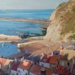 Late Sun, Staithes Harbour by David Curtis RSMA ROI