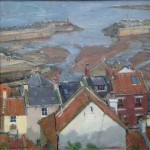 Low Tide in the Harbour, Staithes by David Curtis ROI RSMA