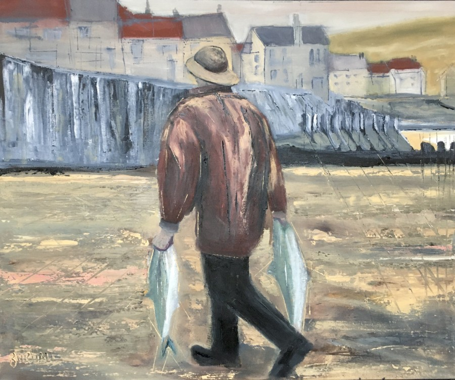 Man with Two Fish by Ian Burdall