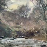 Midwinter in the Glade, Staithes by David Curtis ROI RSMA
