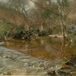 Midwinter, the Glade, Staithes by David Curtis ROI RSMA