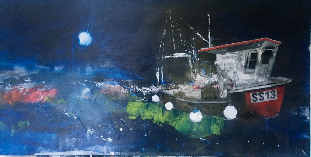 Moonlit Harbour, Staithes (1)