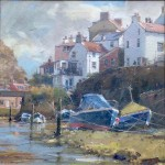 Moored Vessels in the Beck, Staithes by David Curtis ROI RSMA