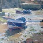 Moorings beneath the Bridge, Staithes by David Curtis RSMA ROI