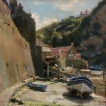 Moorings by the Sea Wall, Staithes by David Curtis ROI RSMA
