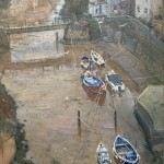 Moorings in the Beck, Staithes by David Curtis ROI RSMA