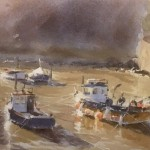 Moorings in the Beck, Staithes by Marshall Ould
