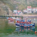 Moorings in the Harbour, Staithes by David Curtis RSMA ROI