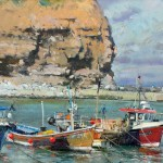 Moorings in the Outer Harbour, Staithes by David Curtis