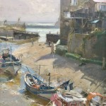 Ready for the Tide, Staithes by David Curtis ROI RSMA