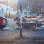 Red Markers, Staithes by Robert Brindley RSMA