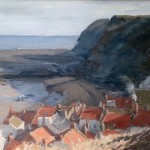 Rooftops and Ciffs, Staithes, Winter by Marshall Ould