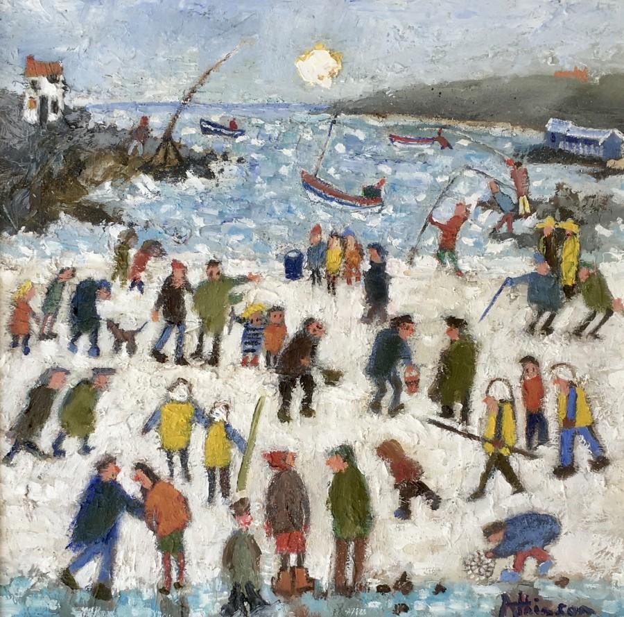 Busy Beach Runswick Bay by Sue Atkinson