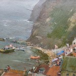 Sea Fret, Lifeboat Day, Staithes by David Curtis ROI RSMA