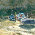 Sharp Afternoon Light in the Beck, Staithes by David Curtis ROI RSMA