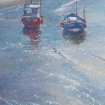 Silvery Light, Staithes Harbour by Robert Brindley RSMA